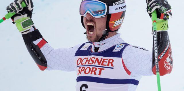 Hirscher banks slalom win
