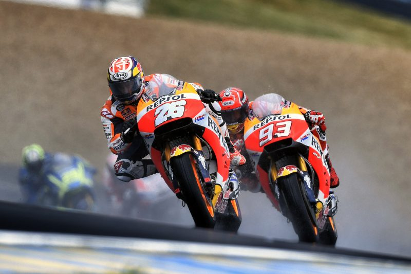 mixed results for repsol honda team in cold and wet le. Black Bedroom Furniture Sets. Home Design Ideas