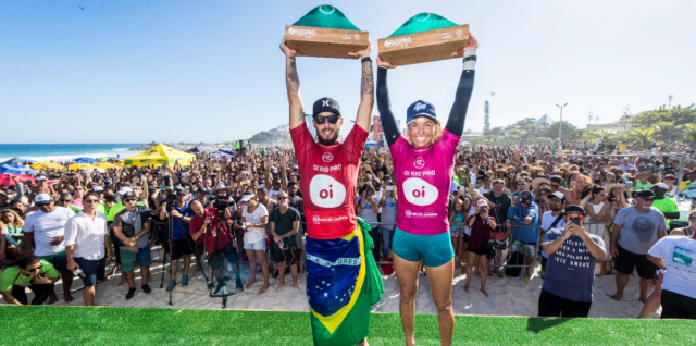 Filipe Toledo and Sally Fitzgibbons Claim Victory at Oi Rio Pro