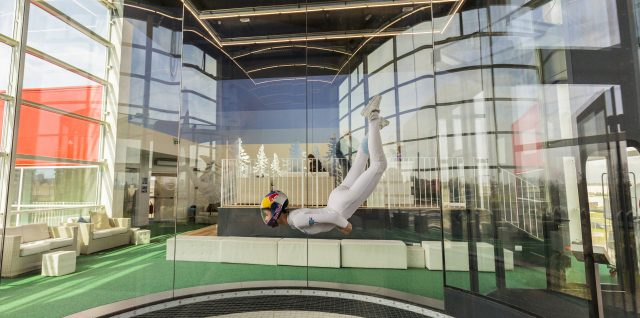Indoor skydiving champion performs mesmerising sky-dance
